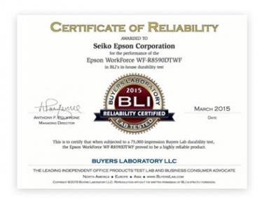 Сертификат BLI 2015 для Epson